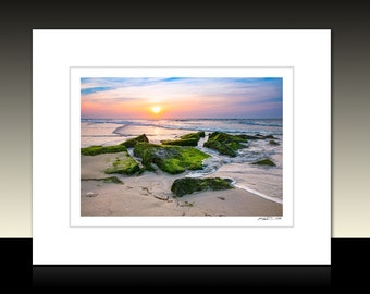 Long Beach Island Sunrise Matted Print, Seascape theme, LBI Coastal wall decor, Harvey Cedars Art, Ready for framing or Framed