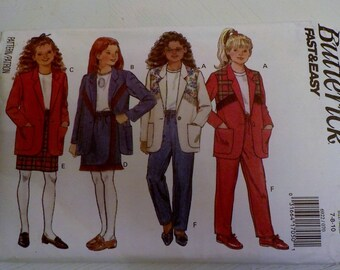 Vintage Butterick FAST & EASY Sewing Pattern 6922 Girls 7-8-10 Skirt Jacket Pants Uncut Factory Folded OOP