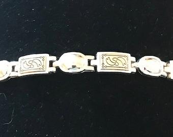 Vintage Etched Two Tone Link Bracelet