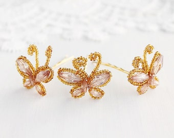 Butterfly Bobby Pins, French Beaded Bridal Pins, Wedding Hair Pins, Butterfly Hair Pins, Bridal Hair Pins, Butterfly Head Piece, Set of Pins