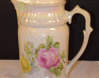 Delayed Shipping Bavaria Retsch Opalescent Rose Pitcher Vintage Pink Rose Water Jug Bavaria Servingware Gifts for Her Mothers Day Gift Weddi