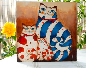 Cat painting on canvas Cat acrylic art Cat artwork original cat art Cat lover picture Cat wall decor Fantasy cat Cats family Cat portrait