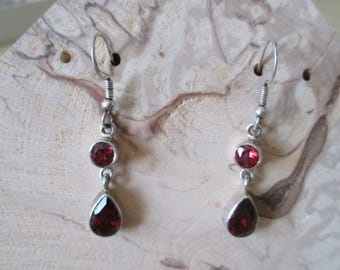 Earrings in 925 sterling silver hand made, two stones in GRA