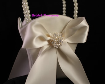 Ivory Flower Girl Basket with Round Pearl and Rhinestone Cluster Accent-Age up to 5-Custom Ribbon Colors