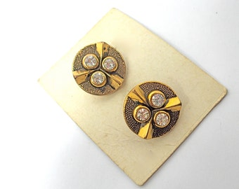 Vintage Buttons Rhinestone and Gold Tone (2) 1950s