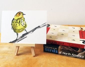 Cape May Warbler Print, Bird Illustration, Digital Drawing, Animal Wildlife Art Postcard  MAY