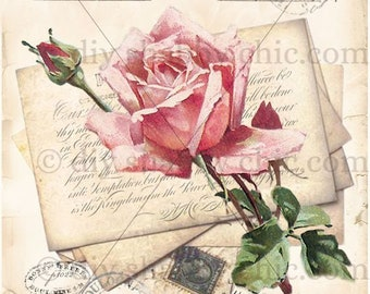 Furniture decals shabby chic french image transfer vintage rose card sign art diy home Craft label script crafts scrapbooking card making