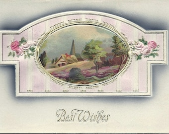 Antique Edwardian Best Wishes Postcard