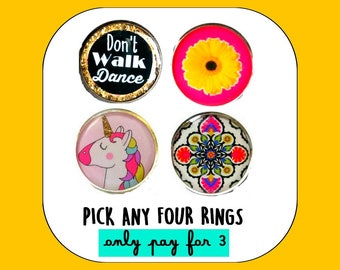 PICK ANY 4 RINGS - Buy 3 get 1 free pack of adjustable rings - You pick the designs