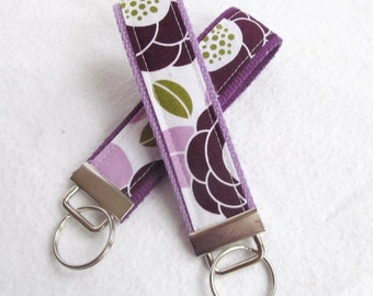 Wristlet Key Fob Key Chain in Aviary II - Bloom in Lilac - Fabric Keychain with your choice of lavender or deep purple webbing