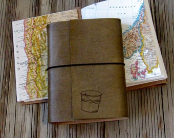 bucket list journal with maps as a travel journal, distressed faux leather journal by tremundo