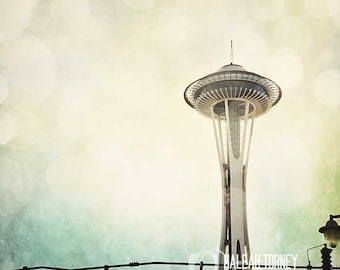 Seattle Space Needle, Travel Photography - magical surreal, city print, yellow blue