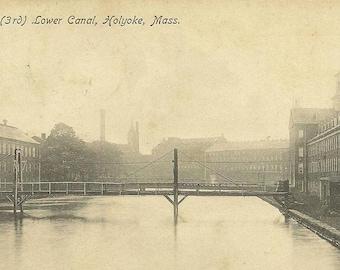 3rd Lower Canal Holyoke Massachusetts Black and White Photo Postcard UDB 1907 Southwick Mass cancel