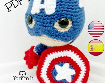 Captain America Sackboy Amigurumi PDF Pattern -English and SPANISH