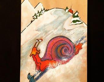 ORIGINAL Snail art, snail painting, snail illustration, snail drawing, skiing art, Children's Room Art, Animal Art, Mixed Media Art