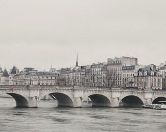 """Paris Print, Pont Neuf, Paris Bridge Photograph, 8x10 Wall Art Print, White and Gray Paris Wall Art - """"Sur Le Pont"""""""