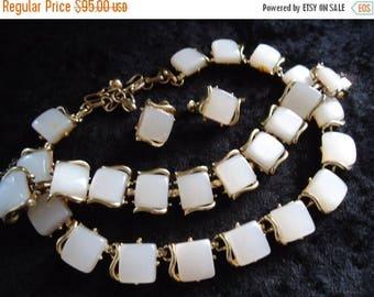 ON SALE Signed Coro Vintage White Lucite Necklace Bracelet Earring Set Demi Parure Rockabilly Costume Mid Century Jewelry 1950's 1960's