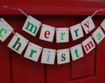 Merry Christmas banner decoration, photoprop, garland