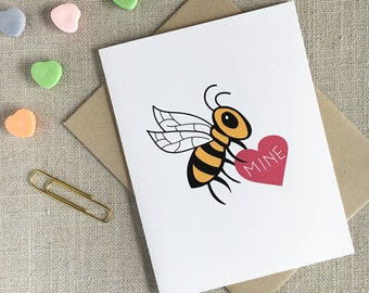 Bee Mine Valentine's Day Card / Funny Valentine / Romantic Valentine / Happy Valentine's Day / Card for Her / Cute Valentine's Day Card