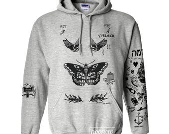 Butterfly Tattoos Hoodie Sweatshirt Sweater Jumper Pullover Shirt Long Sleeve – Size S M L XL