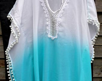 Short dress  dress Off white Caftan/ Kaftan Beach cover up / Beach caftan dress/ poncho Bridal Caftan beach dress Lace Dress