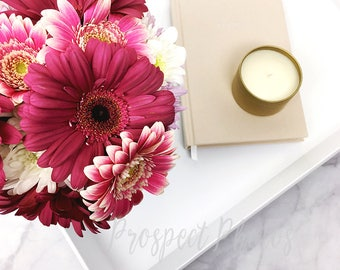 Flower Styled Stock Photography| Flower stock photos| Lifestyle Instagram photos | candle and notebook stock photo