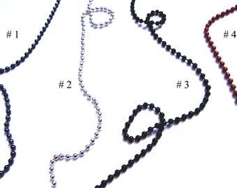 "24"" Ball Chain, Thin Ball Chain, Ball Necklace Chain, Jewelry Supplies, Chain for Necklace, Gunmetal Gray / Silver / Blac /Copper Ball Chain"