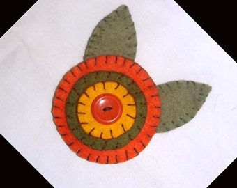 Handmade Penny Felt Brooch Pin in Fall Colors of Orange, Olive and Gold
