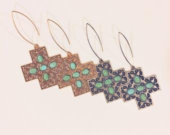 Cross Turquoise Earrings...