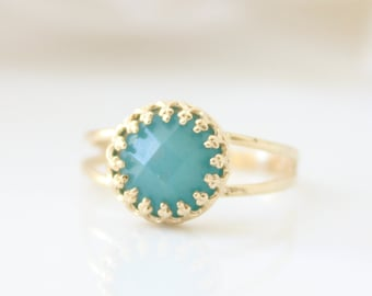 Mint Green Ring • Gold ring set with a mint amazonite gemstone • Gifts for her