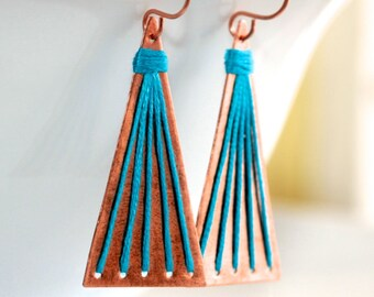 Triangular Earrings * String Earrings * Thread Earrings * Linear Earrings * Metalwork Earrings * Boho.......*Strategically Pulled-Off Sting*