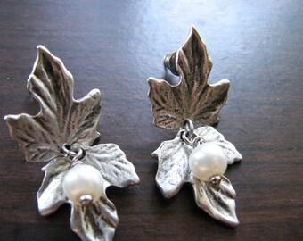Stud earrings silver | leaf dangle | pearl stud | woodland | women | for her | vintage
