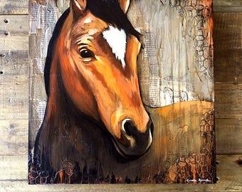 original Horse Mixed Media Painting, titled 'Neigh', modern farmhouse art, modern Horse art, farm art, farm animal art