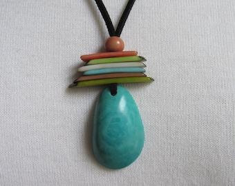 Tagua Necklace, Ecofriendly Necklace, Tagua Nut Necklace, Pendant Necklace, Boho Necklace, Tagua nut jewelry, Jade Necklace