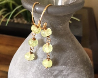 "Hand crafted, faceted Prehnite Bead Dangle Earrings in brass with Artisan Brass wires.  1"" drop."
