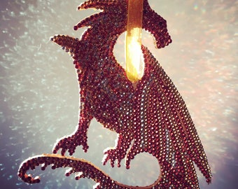 Dragon home decor, orange dragon home decor, dragon for boys room, dragon for girls room, dragon sun catcher, sparkled dragon