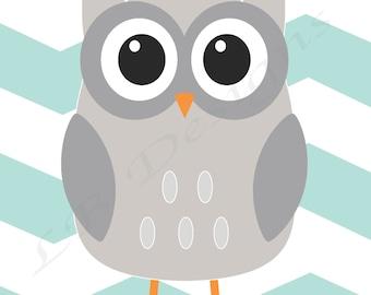 Owl Nursery Decor, Woodland Nursery Print, Aqua and Gray Nursery, Fox Nursery Art, Gender Neutral Nursery, Baby Shower Gift - 8x10