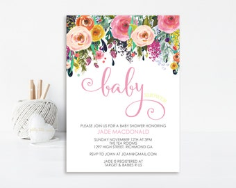 Floral Baby Shower Invitation, Baby Shower Invite, Shower Invitation, Printable Invitation, Floral Invitation, Girl Baby Shower Invitation