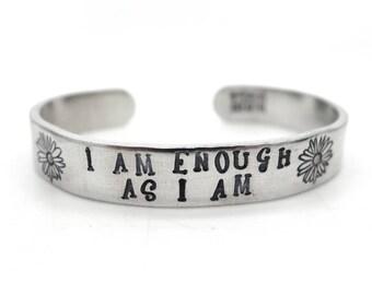 i am enough bracelet, i am enough jewelry, mantra bracelet, inspirational quote, flower bracelet, hand stamped jewelry