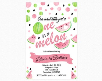 Watermelon Birthday Party Invitation, One in a Melon Invitation, 1st Birthday, Personalized, Printable or Printed