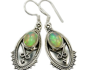 Ethiopian Opal Earrings Sterling Silver Dangle Earrings ; V462 Jewelry
