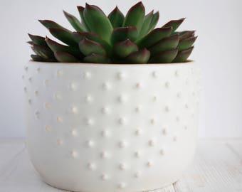 White ceramic planter - Modern succulent planter - Large planter - Geometric pattern planter - Planter desk gift - Gardening gifts for mom