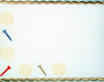 Golf Balls & Tees embroidered quilt label, to customize with your personal message