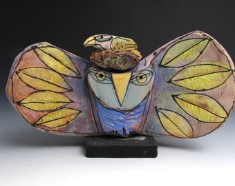 """Owl, handmade one of a kind art,""""Owl Person and Nesting Bird Holding Space for the Dream of Love."""" 7-1/2"""" wide"""