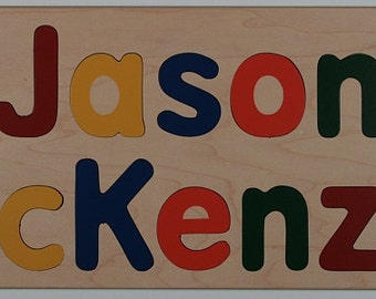 Name Puzzle - Raised Letters - Two Names - First or Second Birthday Gift - Kids Personalized Wooden Puzzle -  Mixed Case Letters