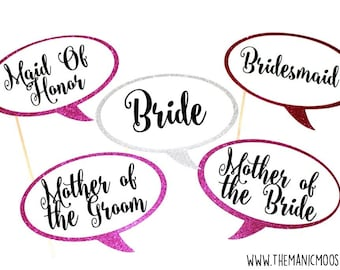 Bridal Party Photo Booth Props ~ Set of 5 GLITTER props ~ You Choose Glitter Colors - Photobooth Props