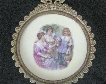 Vintage / Antique Porcelain Plaque with French Scene