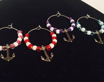 Anchor wine charms, anchors away wine charms, anchors,