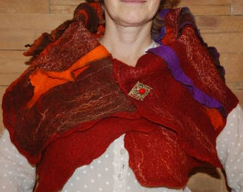 Felted Women Vest Convertible Felted item Merino wool  New Zealan carded woolScarf- Vest original felted Art