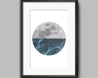 Moon Waves, Instant Download, Print Wall Art, 8x10in, 11x14in